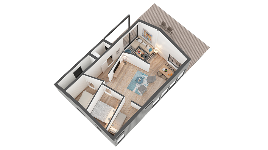 Blåtann hytte 1022 3D-plan