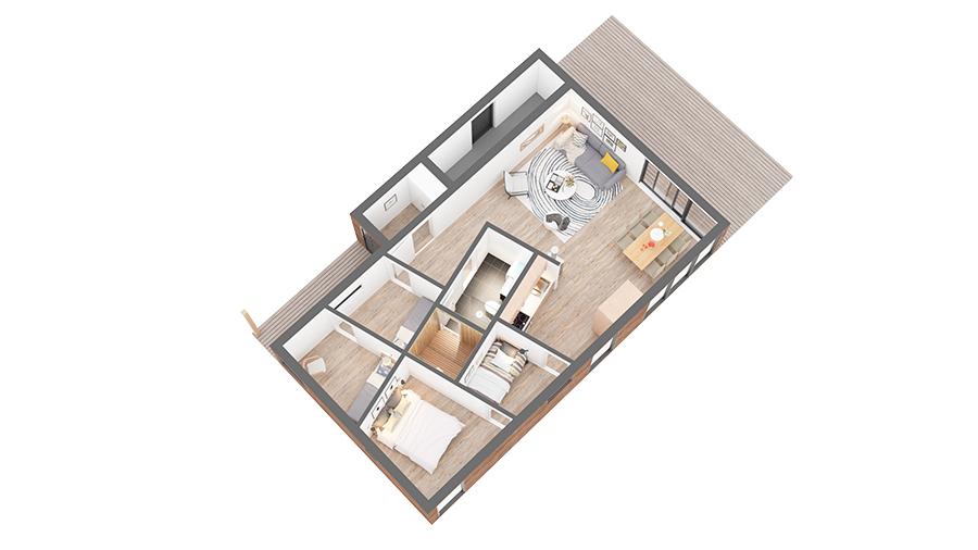 Blåtann hytte 1023 3D-plan