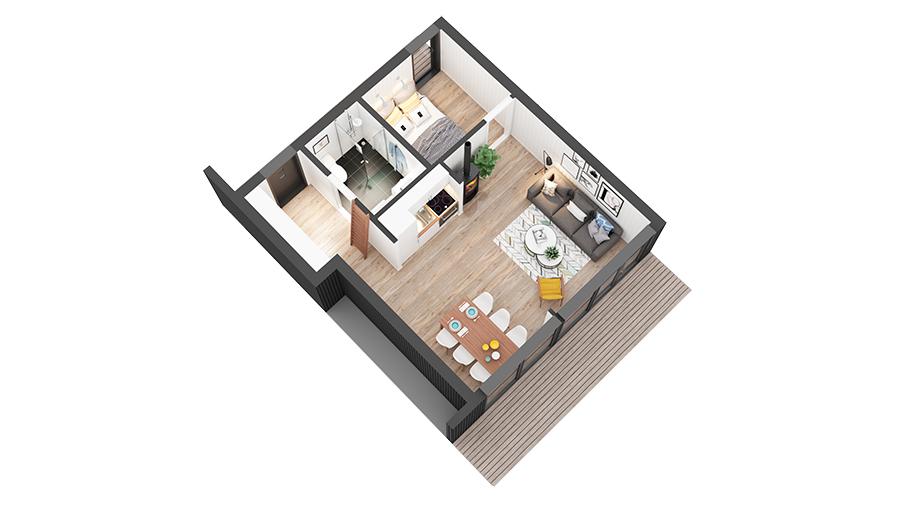 blåtann hytte 811 3D-plan
