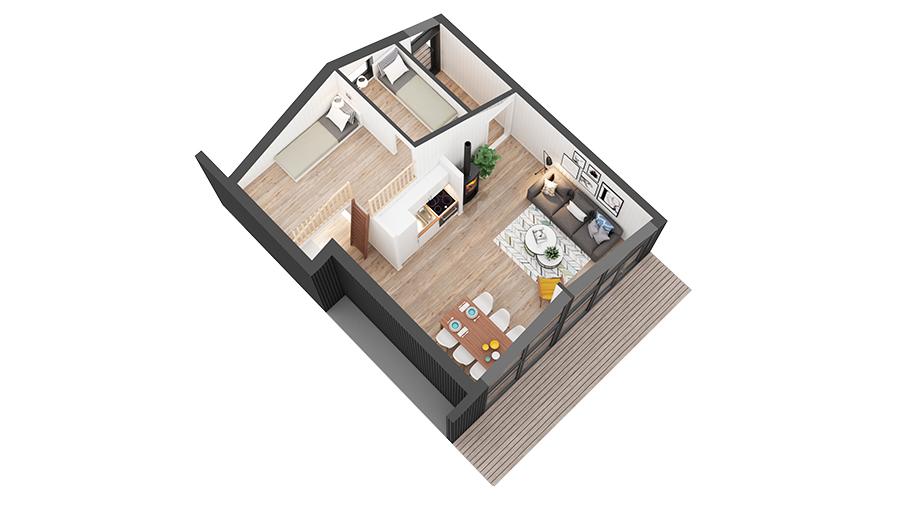 blåtann hytte 811 3Dplan 2 etg