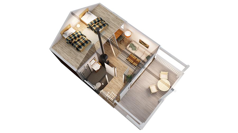 Volva hytte Eir 3D-plan 2etg