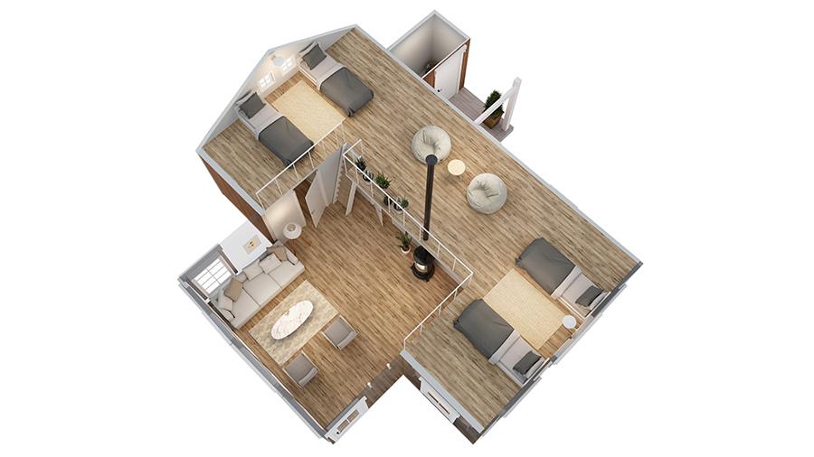 Volva hytte Gerd 3D-plan 2