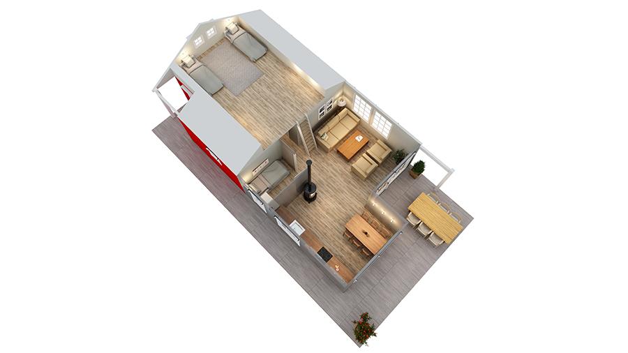 Volva hytte gunnvor 3D-plan