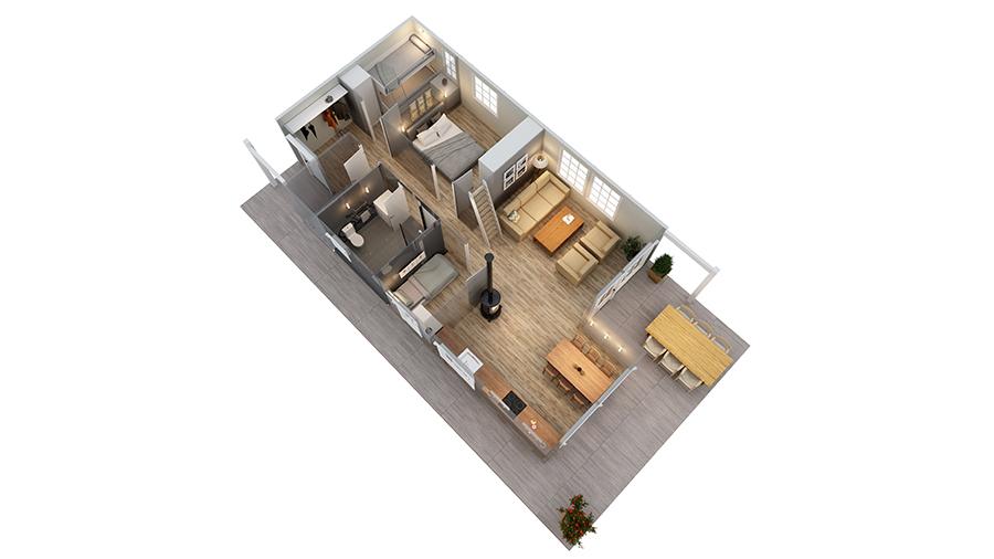 Volva hytte gunnvor 3D-plan 2
