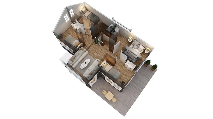 Volva hytte Ingrid 3D-plan 2 etg