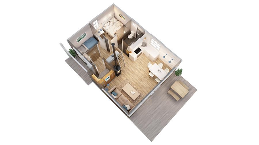 Volva hytte Ragnhild 3D-plan