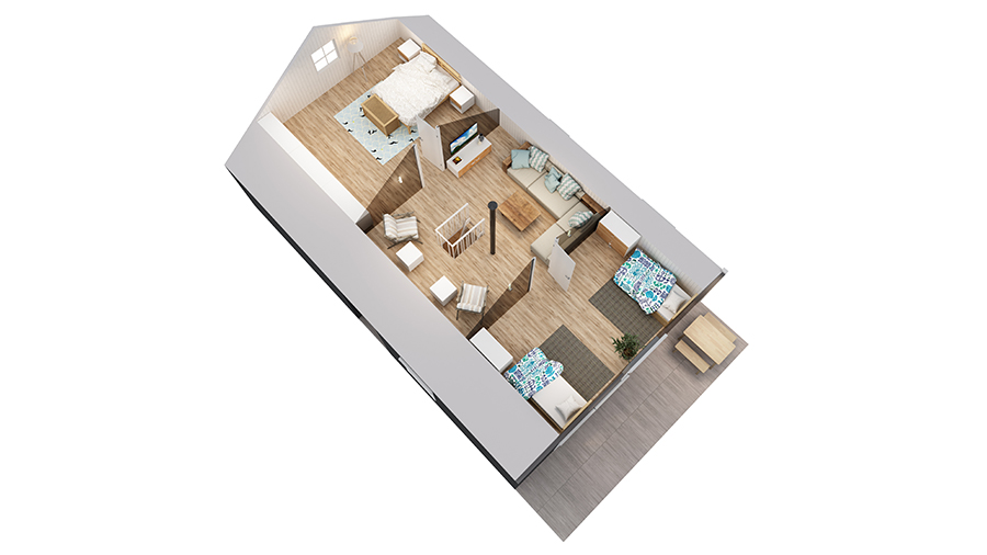 Volva hytte 3D-plan 2etg