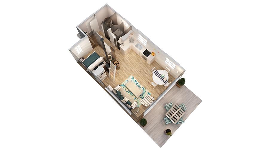 Volva hytte 3D-plan