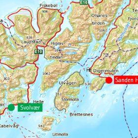 Kart over Sanden hyttefelt