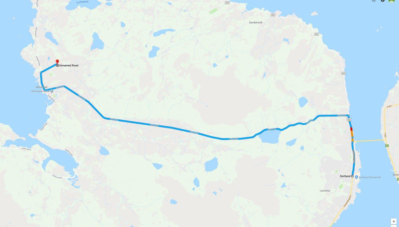 Kart kjørerute fra Sortland
